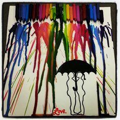 DIY artwork. Melted Crayon Art