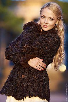Купить Жакет Рошен- войлок - коричневый, валяная одежда, пальто из шерсти, одежда из войлока