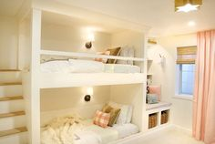 The Reveal! A Shared Girls Room Complete with Built-In Bunks - Shared Hosting - bunk beds with stairs Bunk Beds Built In, Bunk Beds With Stairs, Cool Bunk Beds, Kids Bunk Beds, Cool Kids Beds, Bunk Beds For Girls Room, Custom Bunk Beds, Bunk Bed Plans, Bedroom Hacks
