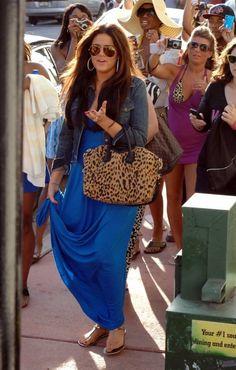 Khloe Kardashian | Maxi dress, denim jacket, leopard print bag.
