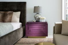 The master bedroom is punctuated by a bold pop of color from the purple maccassar ebony bedside table, which is part of the Brown Davis for Keith Fritz Fine Furniture collection. Photography by Moris Moreno Top Interior Designers, Luxury Interior Design, Home Interior, Master Bedroom Interior, Bedroom Decor, Bedroom Ideas, Fine Furniture, Luxury Furniture, Pantone