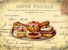 desserts on postcard.