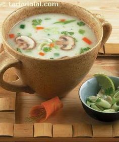 Lemon Grass Coconut Soup recipe, Gold Membership for Indian residents Coconut Soup Recipes, Healthy Soup Recipes, Vegetarian Recipes, Chicken Recipes, Cooking Recipes, Zuchinni Recipes, Vegetarian Starters, Vegetarian Italian, Vegetarian Chili