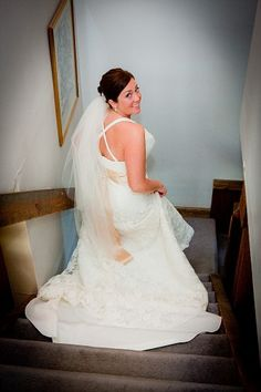 Madeleine's Daughter Blog, Real Bride, Real Wedding, Lace Bridal Gown, Wedding Gown, Veil, Sash