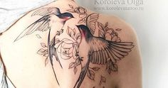 back Shoulder Tattoo Ideas for women; tattoos on the back; tattoos on the shoulders; Back Of Shoulder Tattoo, Shoulder Tattoos For Women, Flower Tattoo Shoulder, Sparrow Tattoo Shoulder, Shoulder Blade Tattoos, Bird And Flower Tattoo, Flower Tattoos, Flower Bird, Two Birds Tattoo