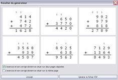 Créateur d'exercices pour générer des grilles d'additions avec AutoMath