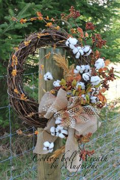 Natural Cotton Boll Wreath, Primitive Cotton Wreath, Raw Cotton Bolls, Southern Decor, Wreath for Everyday, Front Door Wreath, Wedding Decor