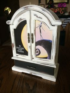 $99. Shabby Chic, Upcycled, Vintage, White, Distressed, Hand Painted, Decoupaged, Nightmare Before Christmas, Wooden Jewelry Box, Jewelry Armoire
