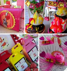 Fantastic rock themed valentine's day party for tweens! Love the neon icing and cool rock and roll decor