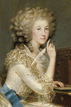 1788 Portrait of Marie-Therese, Princesse de Lamballe. Note the fashionable curled & powdered hair.