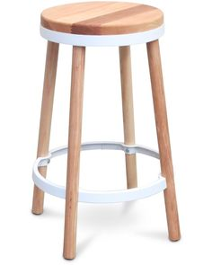 Ashley bar stool natural - white, 66cm - Cintesi