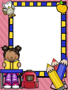 Borders For Paper, Borders And Frames, School Frame, Art School, Classroom Borders, Classroom Decor, Kids School Organization, School Binder Covers, School Border