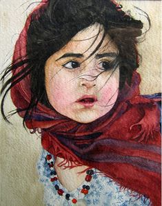 """#watercolor....artist Alieh.... Alieh says it's just """"a portrait""""... I think it looks like Little Red Riding Hood"""