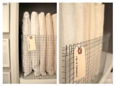 Home Made by Carmona: My Upstairs Hall: A Guest Corner. Sheet storage cute idea