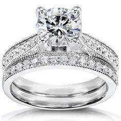 Forever Brilliant Round Moissanite & Diamond Bridal Set 1 1/3 Carat (ctw) in 14k White Gold