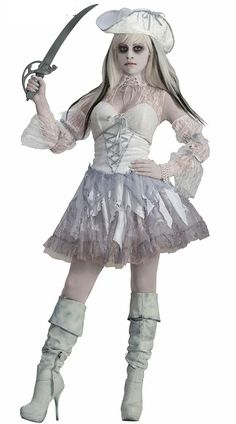 Womens Ghost Ship Pirate Dress Partywear Costume Halloween Cosplay Zombie Bride #Unbranded #Dress