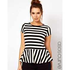 Asos Curve Exclusive Peplum Top In Stripe ($39) ❤ liked on Polyvore