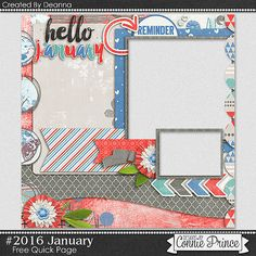 FREE #2016 January Quick Page Freebie By Deanna from Connie Prince