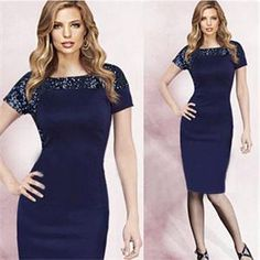 New Hot Retro Stunning Party Evening Dress Women Short Sleeve O Neck Sequined Tunic Pencil Dress Women Summer Women Clothes Navy-in Apparel & Accessories on Aliexpress.com | Alibaba Group