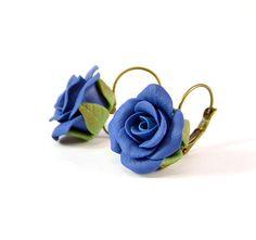 Ready to ship!- Blue Rose Earrings - Floral dark blue earrings - Polymer clay jewelry - Navy blue Handmade jewelry