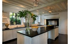 This is Calvin Klein's Miami residence and you can see he used a black counter on the island. It looks great. I think they used a honed finish and not shiny -mm