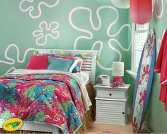 Morgan likes this room, but does not like the blue-ish green paint