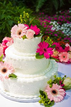 gerbera daisy wedding cake - omg this is nearly the exact wedding cake I had. Loved it, it looked so beautiful.