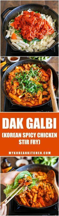 Dak Galbi (Korean spicy chicken stir fry) | MyKoreanKitchen.com Healthy Korean Recipes, Asian Food Recipes, Beef Recipes, Cooking Recipes, Ethnic Recipes, Healthy Food, Chicken Meals, Keto Chicken, Recipe Chicken