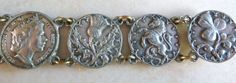 A really unusual British Isle themed vintage bracelet The bracelet is made in a silver tone metal possibly silver plate on a base metal as a gold