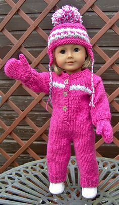 "Ravelry: American Girl Doll Cosy Onesie or Snuggly Snow Suit Set (for 18"" Doll & for Bitty Baby/ Using a Modification on the legs) by Jacqueline Gibb (Instructions for a: One Piece Suit, Hat & Mitens...with the addition of the earflap hat & mittens it converts from a fashionable ""onesie"" to a snow suit. )"