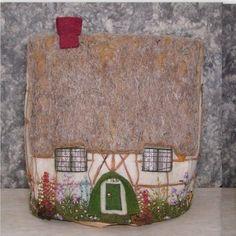 Antique TEA COSY COZY, British-19th C.? Cottage embroidery Wool,Mica,Silk,UNIQUE