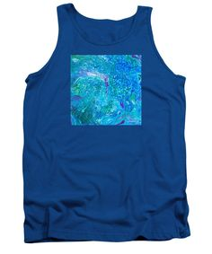 Absolutely Ocean Sea Colors And The Feeling Of Currents With Bubbles Many Shades Of Blue Dominate Purple And White And Green Accent Original Abstract Dynamic Contemporary Tank Top featuring the painting #213 Sea-pour by Expressionistart studio Priscilla Batzell