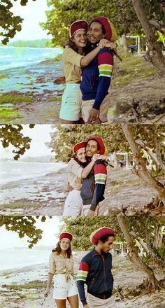 Bob Marley on the beach with Cindy Breakspeare (Miss World 1976 and the mother of Damien Marley):