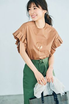 Playsuit Dress, Summer Work Outfits, Japan Fashion, Blouses For Women, Bell Sleeve Top, Ruffle Blouse, Style Inspiration, My Style, Womens Fashion