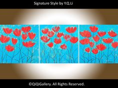 """Acrylic turquoise Red flower painting wall art canvas art Heavy Texture Palette Knife original art """"Spring Heat Waves"""" by QIQIGALLERY by QiQiGallery on Etsy https://www.etsy.com/listing/220925589/acrylic-turquoise-red-flower-painting"""