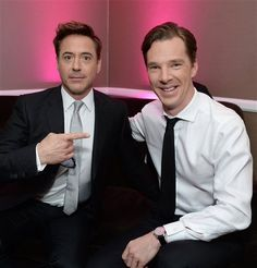 Benedict Cumberbatch & Robert Downey Jr.>>>haha it's Sherlock oh there he is again but wait he's right there oh my god to much Sherlock *faint*