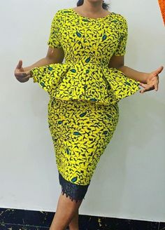 Ankara African print two piece peplum top and pencil skirt African Fashion trends Short African Dresses, Latest African Fashion Dresses, African Print Dresses, African Print Fashion, Africa Fashion, African Print Peplum Top, Ankara Fashion, African Prints, African Fabric