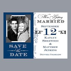 Vintage Fonts - Marine - Photo Save the Date Magnet