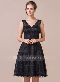A-Line/Princess V-neck Knee-Length Lace Bridesmaid Dress (007056564) But in Watermelon/Coral color
