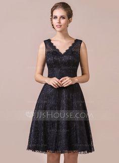 A-Line/Princess V-neck Knee-Length Zipper Up Regular Straps Sleeveless No Black Spring Summer Fall General Plus Lace Bridesmaid Dress