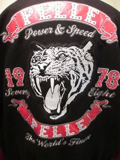 PELLE PELLE Tiger Jacket 1978 Varsity Letterman Patch Black Wool Coat Size 3XL #PellePelle #BasicJacket