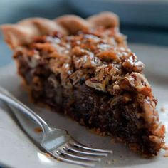 German Chocolate Pecan Pie. This was our Thanksgiving dessert. Fantastic. Chocolate was all melty on the bottom and crunchy sweet pecans everywhere. No need to pre-bake crust either, just cook it a little longer. Use a 9 inch deep dish pie plate.