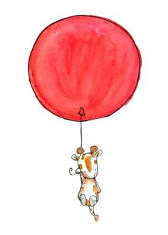 Children's Art -- Soaring--a baby giraffe and a red balloon 8x10 -- Art Print. $20.00, via Etsy.