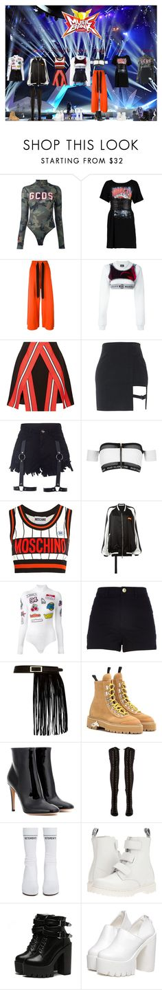 """""""Meow (야옹) - Stay Wild (와일드) - Stage Debut - 20170617"""" by meowofficial ❤ liked on Polyvore featuring GCDS, Boohoo, Marques'Almeida, Nasir Mazhar, Tanya Taylor, River Island, Moschino, Unravel, Off-White and Gianvito Rossi"""