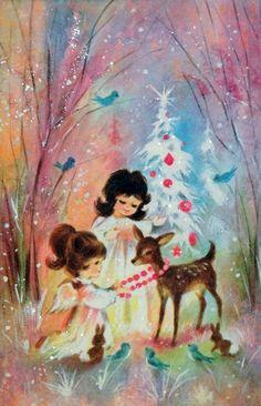 Glittered Angels w/ Deer- Vintage Christmas Card Vintage Christmas Images, Old Christmas, Old Fashioned Christmas, Christmas Scenes, Retro Christmas, Vintage Holiday, Christmas Pictures, Christmas Angels, Christmas Greetings