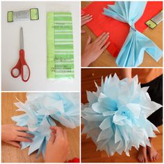 Tissue paper flowers - how to. Diary of a Quilter - a quilt blog: Summer Crafts with Kids Report http://www.diaryofaquilter.com/2010/09/summer-crafts-with-kids-report.html