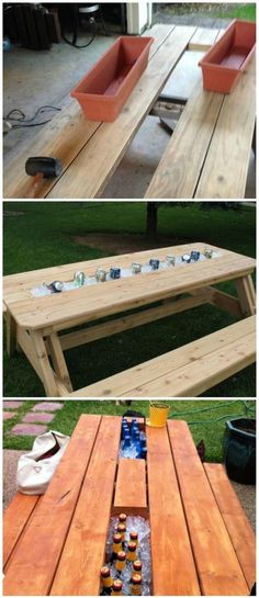 Timelessly Marvelously Functional And Easy Diy Picnic Table Ideas For Ideal Lunchtime Outside - Easy Diy Furniture Backyard Projects, Outdoor Projects, Home Projects, Backyard Ideas, Backyard Patio, Landscaping Ideas, Outdoor Crafts, Diy Picnic Table, Picnic Ideas