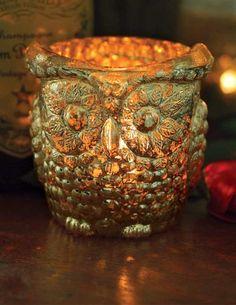 OLD OWL VOTIVE HOLDER - Owl Mercury Glass Votives