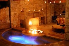 Fireplace integrated with spa and outdoor living room