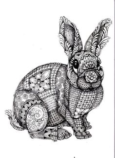 To print this free coloring page «coloring-adult-difficult-rabbit», click on the printer icon at the right: